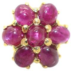 Star Ruby Cluster Ring 18 Karat Yellow Gold 7.00 Carat