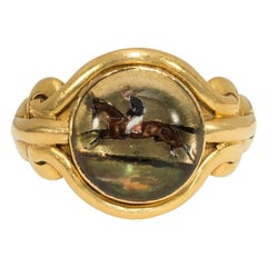 Victorian Essex Crystal Ring Featuring a Horse and Rider, in 18 Karat Gold