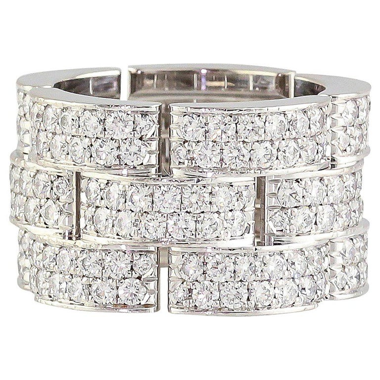 Cartier Maillon Panthere Extra-Large Diamond Gold Band For Sale