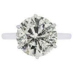 7.01 Carat Round Brilliant Diamond Engagement Ring
