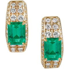 Emerald and Diamond Earrings, 4.10 Carat