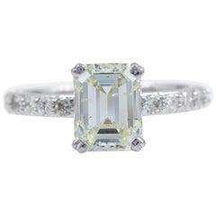 Light Yellow Emerald Diamond Engagement Ring 2.53 Carat 14 Karat White Gold