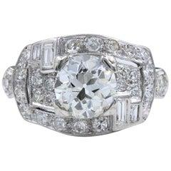 Art Deco Platinum Diamond Ring Old European Cuts 2.70 Carat