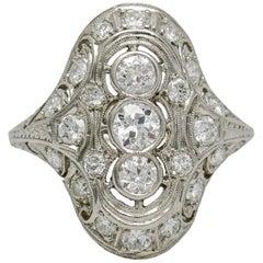 1.75 Carat Art Deco Diamond Platinum Filigree Dinner Ring