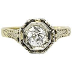 Art Deco 14 Karat .52 Carat Old European Cut Diamond Engagement Ring