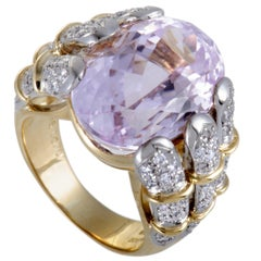 Kunzite and Diamond Gold Cocktail Ring