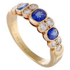 Van Cleef & Arpels Yellow Gold Diamond and 3-Sapphire Band Ring