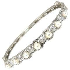 Natural Akoya Pearls Bangle Bracelet 14 Karat Rope Twist