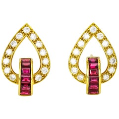 1.82 Carat 18 Karat Yellow Gold Diamond Ruby Earrings