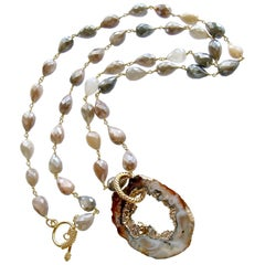 Champagne Moonstone Necklace with Detachable Geode Slice Pendant, Coco Necklace
