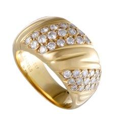 Van Cleef & Arpels Yellow Gold Three-Row Diagonal Diamond Pave Band Ring