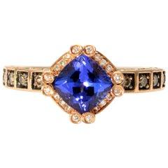 Authentic LeVian Solid 14 Karat Rose Gold Tanzanite and Diamond Ring