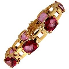 40 Carat Natural Topaz Link Bracelet 18 Karat Regency Art Deco Hinged