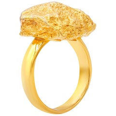 Roberto Coin Yellow Gold 18 Karat Textured Nugget Ring