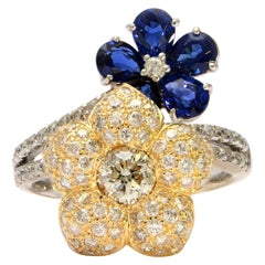 Solid 18 Karat White and Gold Genuine Diamond and Natural Sapphire Flower Ring