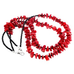 Unique Bamboo Coral and Black Spinel Necklace