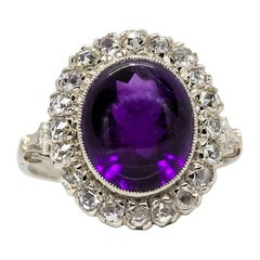 Precious Platinum Natural Amethyst and Diamonds Halo Ring