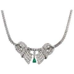 Diamond and Trillion Shape Emerald Necklace