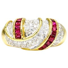 18 Karat Gold 1.80 Carat Diamond Ruby Band Ring