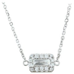 Emerald Cut Diamond Halo Gold Necklace