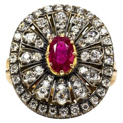 Enticing 18 Karat Gold and Silver Burma Ruby and Diamonds Ring