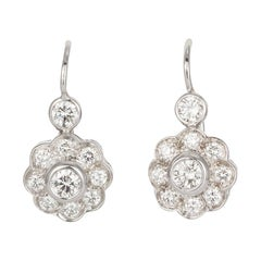 14 Karat White Gold and Diamond Cluster Dangle Drop Earrings 1.60 Carat