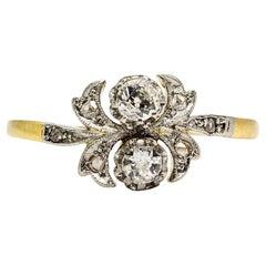 Antique Art Nouveau 18 Karat Gold and Platinum Diamonds Ring