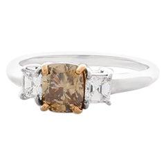 GIA Certified 1.04 Carat Cushion Cut Fancy Dark Brown Diamond Cocktail Ring