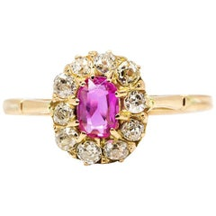 Antique Victorian 18 Karat Gold Ruby and Diamonds Ring