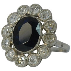 Antique French 1.50 Carat Old Cut Diamond and Sapphire Cluster Ring
