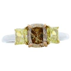 GIA Certified 1.05 Carat Cushion Cut Fancy Brown Diamond and Yellow Diamond Ring