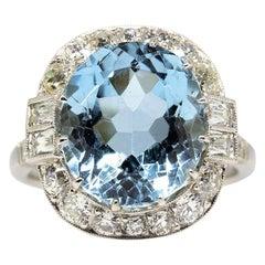 Handmade Platinum Aquamarine and Diamonds Ring