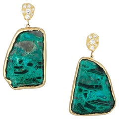 Yellow Gold Diamond and Chrysocolla Earrings