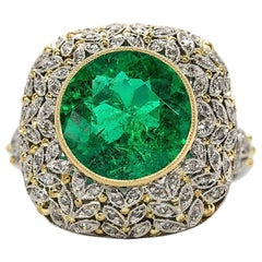 Spectacular Platinum Diamonds and GIA Certified Emerald Ring