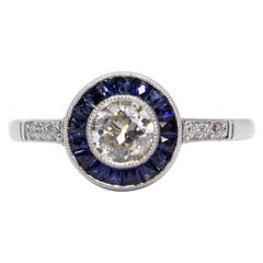 Estate Handmade Platinum Diamonds and Sapphires Halo Ring
