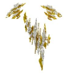 Sterle Paris Diamond Gold Earrings Clip Brooch Pin Set, 1950s