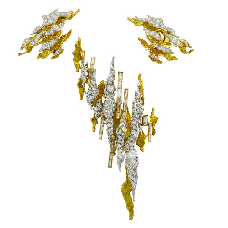Sterle Paris Diamond Gold Earrings Clip Brooch Pin Set, 1950s For Sale