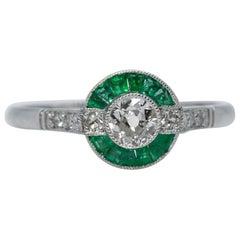 Art Deco Revival Platinum Diamond and Emerald Ring
