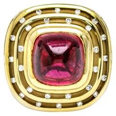 2.00 Carat 14 Karat Yellow Gold Tourmaline Diamond Ring