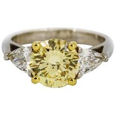 3.05 Carat Platinum GIA Certificate Fancy Yellow Diamond Engagement Ring