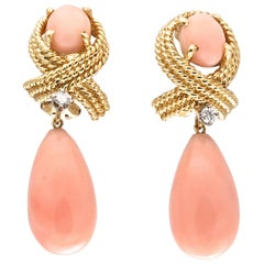 Vintage Angel Skin Coral Diamond Gold Earrings