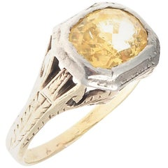 Victorian Natural Yellow Sapphire Gold Ring