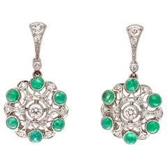 Art Deco Revival Diamond Emerald Platinum Earrings