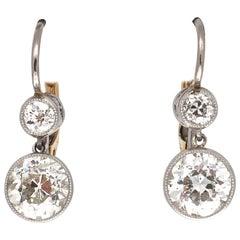 Art Deco Revival Diamond Platinum Drop Earrings
