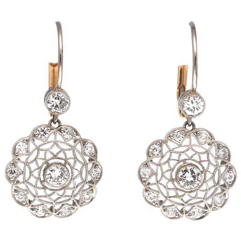 Art Deco Revival Diamond Platinum Earrings For Sale