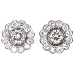 Diamond Platinum Cluster Earrings