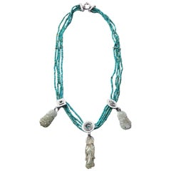 Turquoise Antiques Jade 18k White Gold Diamonds Necklace