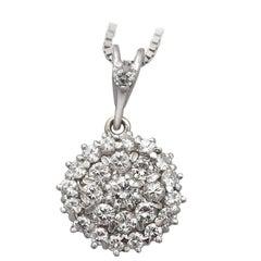 Vintage circa 1970 1.38 Carat Diamond White Gold Cluster Pendant