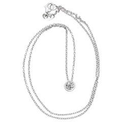 Contemporary Diamond White Gold Solitaire Pendant