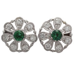 Tourmaline and Diamond White Gold Stud Earrings